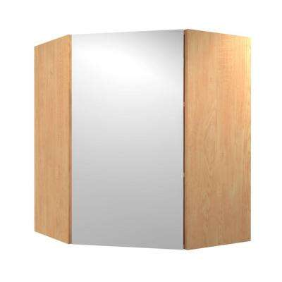 Salerno Ready to Assemble 24 x 30 x 12 in. Angle Corner Wall Cabinet with 1 Soft Close Door in Polar White