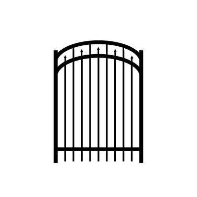 Adams 4 ft. W x 5.5 ft. H Black Aluminum 3-Rail Arched Fence Gate