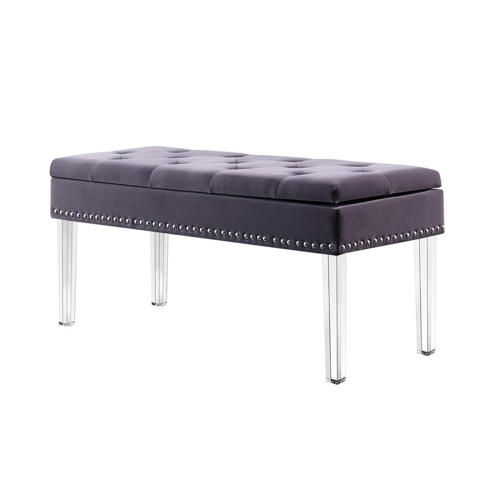 Home Decorators Collection 18 In Grey Tufted Mid Century Storage Bench Nailhead Trim With
