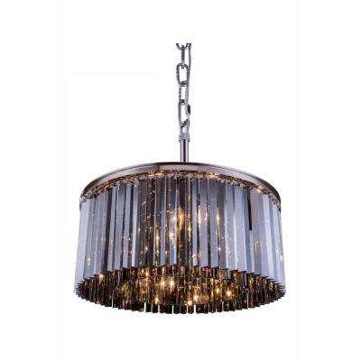Sydney 8-Light Polished Nickel Chandelier with Silver Shade Grey Crystal