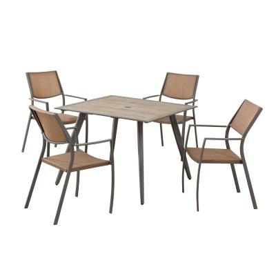 Daleside Brown 5-Piece Steel Outdoor Patio Dining Set