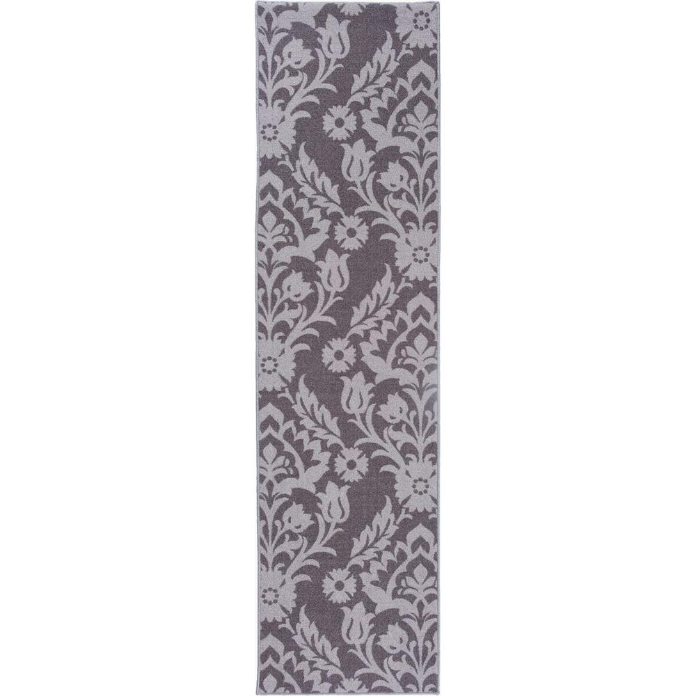 Modern Transitional Damask Non Slip Non Skid Gray Area