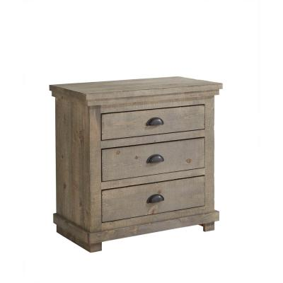 Willow 3-Drawer Weathered Gray Nightstand