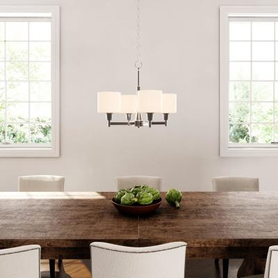 Oron 4-Light Brushed Steel Chandelier with White Glass Shades
