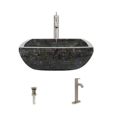 Stone Vessel Sink in Butterfly Blue Granite with 718 Faucet and Pop-Up Drain in Brushed Nickel