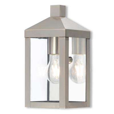 Nyack Collection 1-Light Brushed Nickel Outdoor Wall Mount Lantern