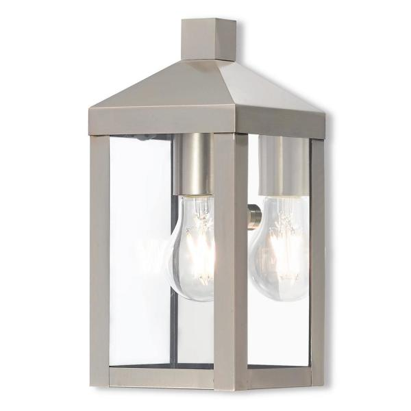 Nyack Collection 1-Light Brushed Nickel Outdoor Wall Lantern Sconce