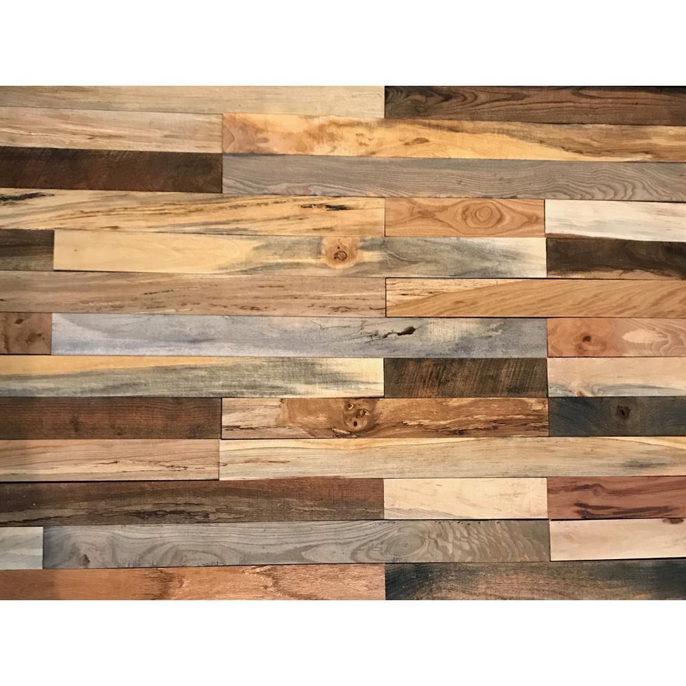 Shiplap Plank 0.5 in. H x 3.5 in. W x 12 in. 36 in. L Mixed Wood Wall Planks (20 sq. ft. / case)