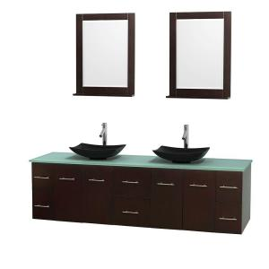Wyndham Collection Centra 80 inch Double Vanity in Espresso with Glass Vanity Top in Green, Black Granite Sinks and 24... by Wyndham Collection