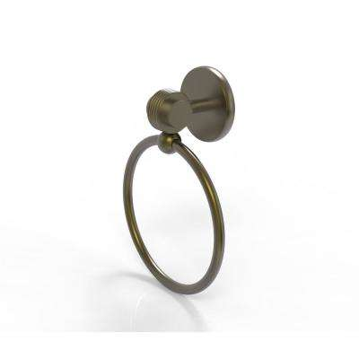 Satellite Orbit Two Collection Towel Ring with Groovy Accent in Antique Brass
