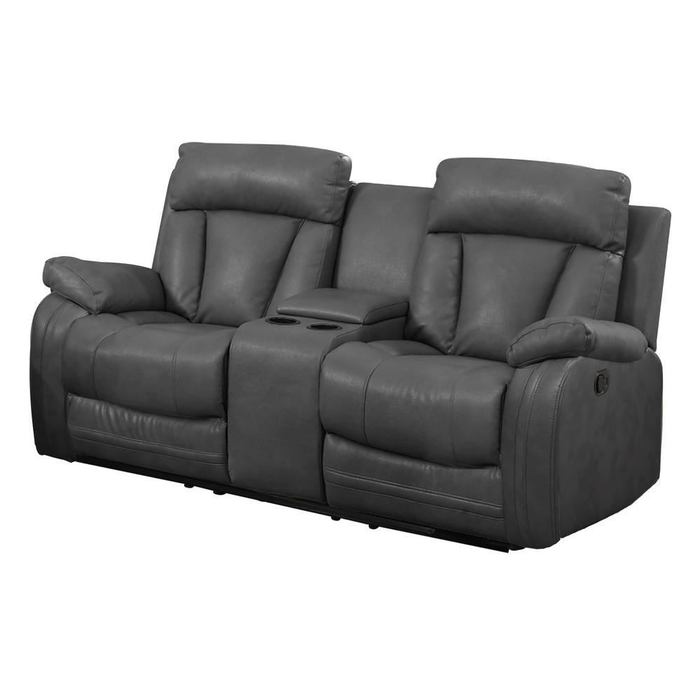 Peachy Gray Bonded Leather Motion Loveseat 2 Reclining Seats And Console Machost Co Dining Chair Design Ideas Machostcouk