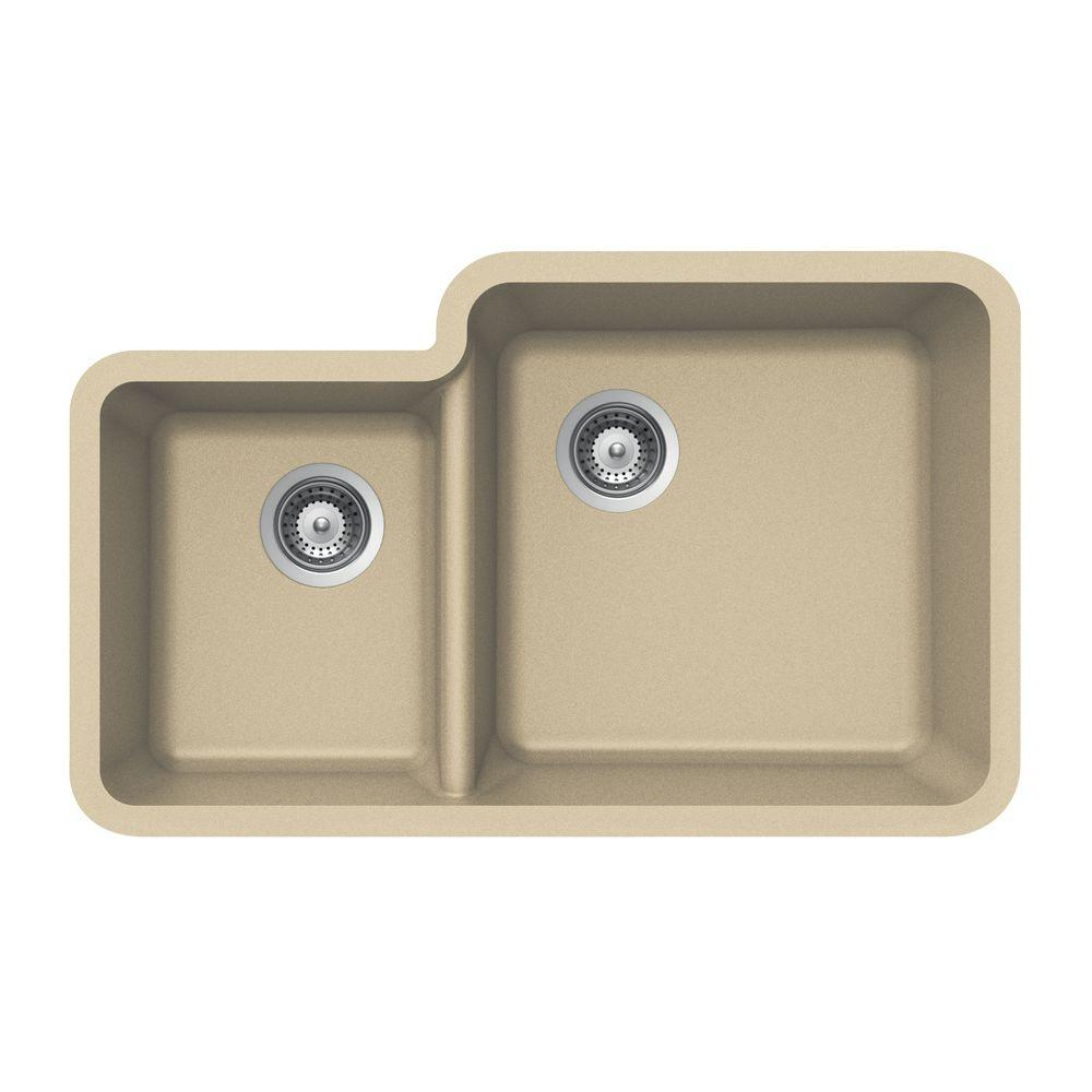 HOUZER Solido Series Undermount Granite 33x20.75x9 0-hole Double Basin Kitchen Sink in Colorado