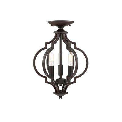 3-Light Oil Rubbed Bronze Semi-Flush Mount