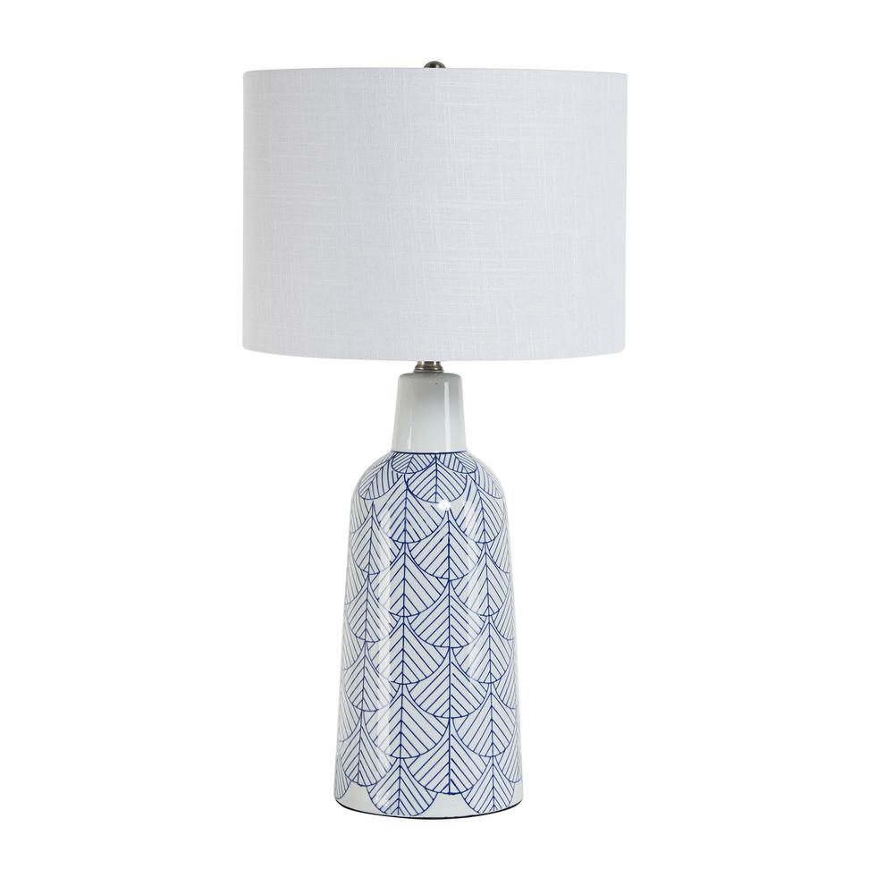 White and Blue Ceramic Jug Table Lamp