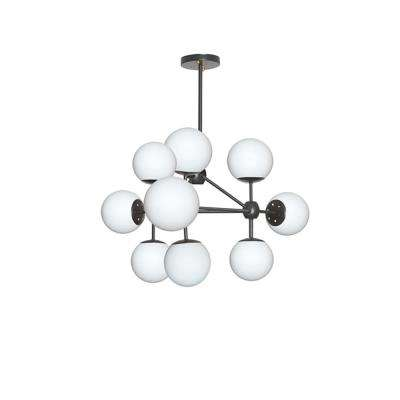 9-Light Black Chandelier with Frosted Glass