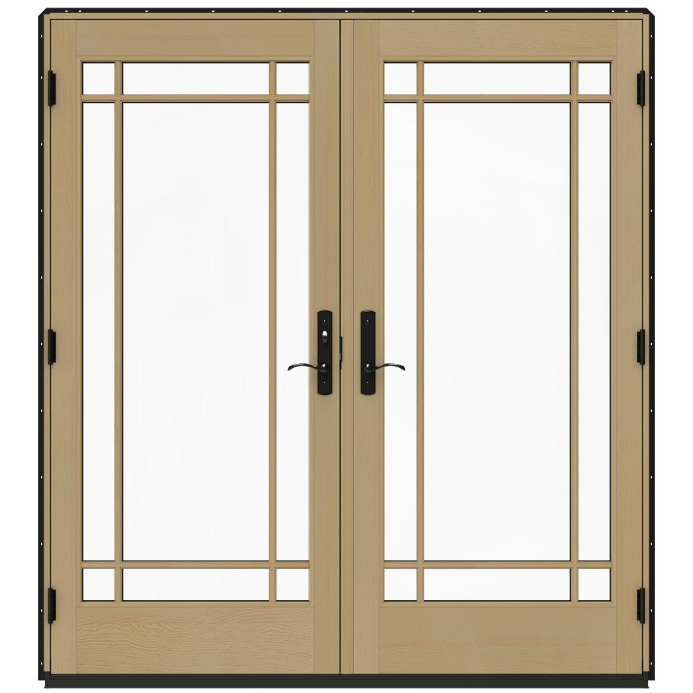 Jeld Wen 72 In X 80 In W 4500 Black Prehung Right Hand Inswing French Patio Door With