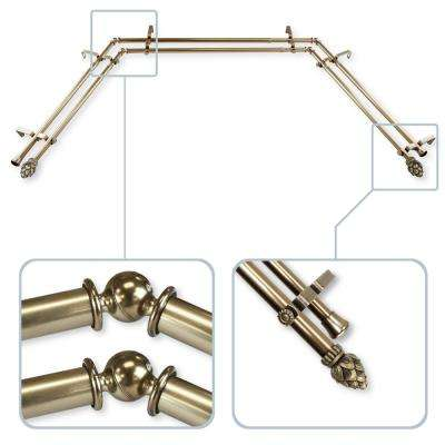 Bud 13/16 in. Bay Window Double Curtain Rod in  Antique Brass