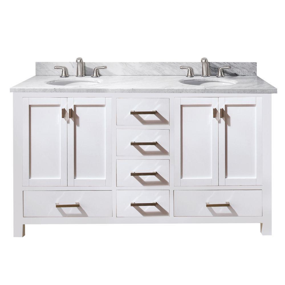 Modero 61 in. W x 22 in. D x 35 in. H Vanity in White with Marble Vanity Top in Carrera White and White Basins