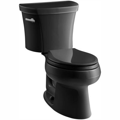 Wellworth 14 in. Rough-In 2-piece 1.28 GPF Single Flush Elongated Toilet in Black Black