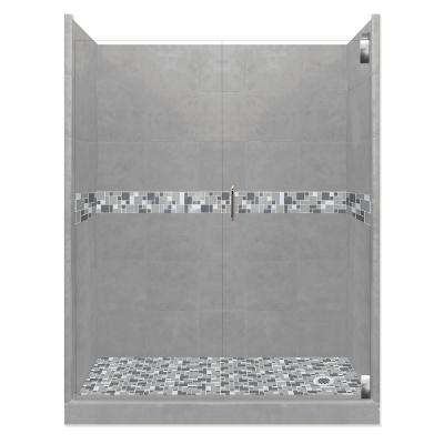Newport Grand Hinged 34 in. x 60 in. x 80 in. Right Drain Alcove Shower Kit in Wet Cement and Chrome Hardware