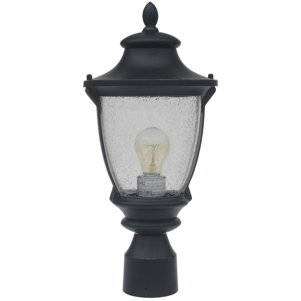 Home Decorators Collection Wilkerson 1 Light Black Outdoor Post Mount
