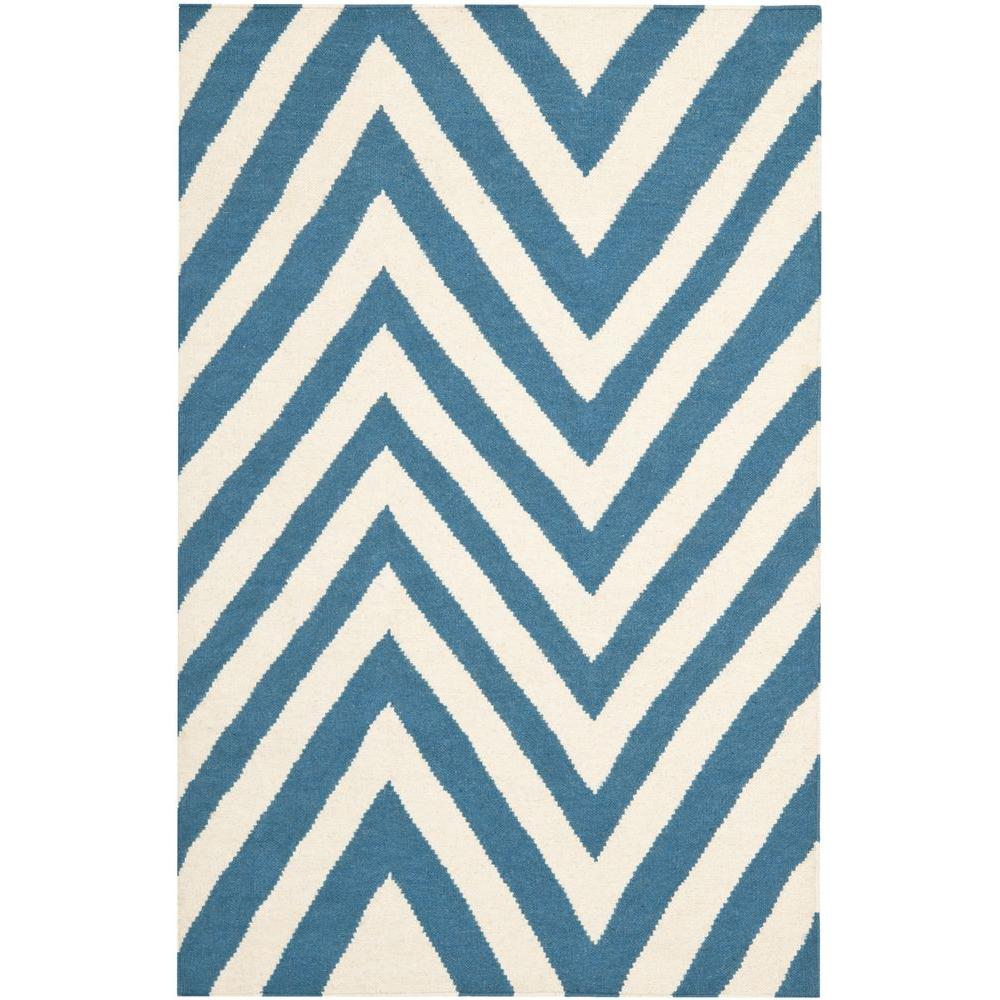 Dhurries Blue/Ivory 4 ft. x 6 ft. Area Rug