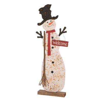 36.22 in. H Rusty Metal Snowman Standing Porch Sign
