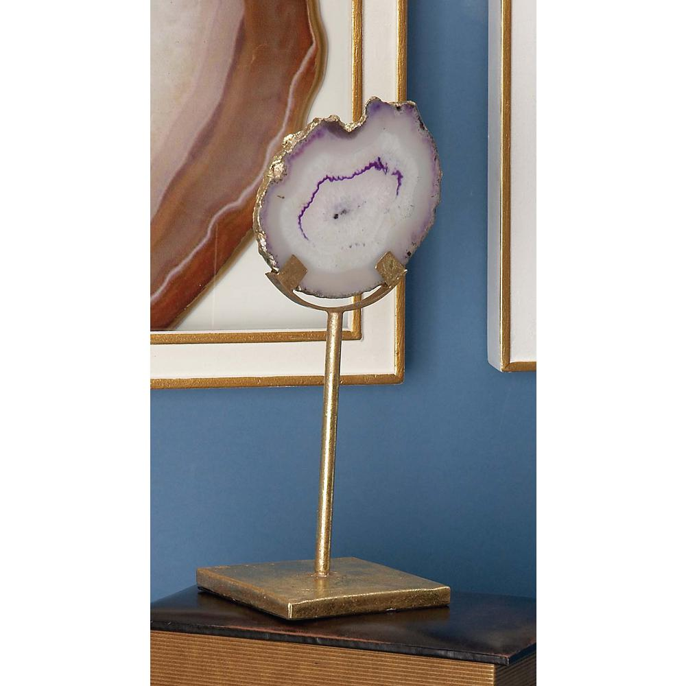 9 in. Agate Stone Decorative Sculpture in Marbling White and Purple