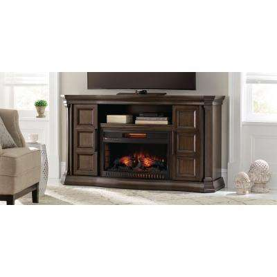 Park Canyon 60 in. Bow Front TV Stand Infrared Electric Fireplace in Twilight