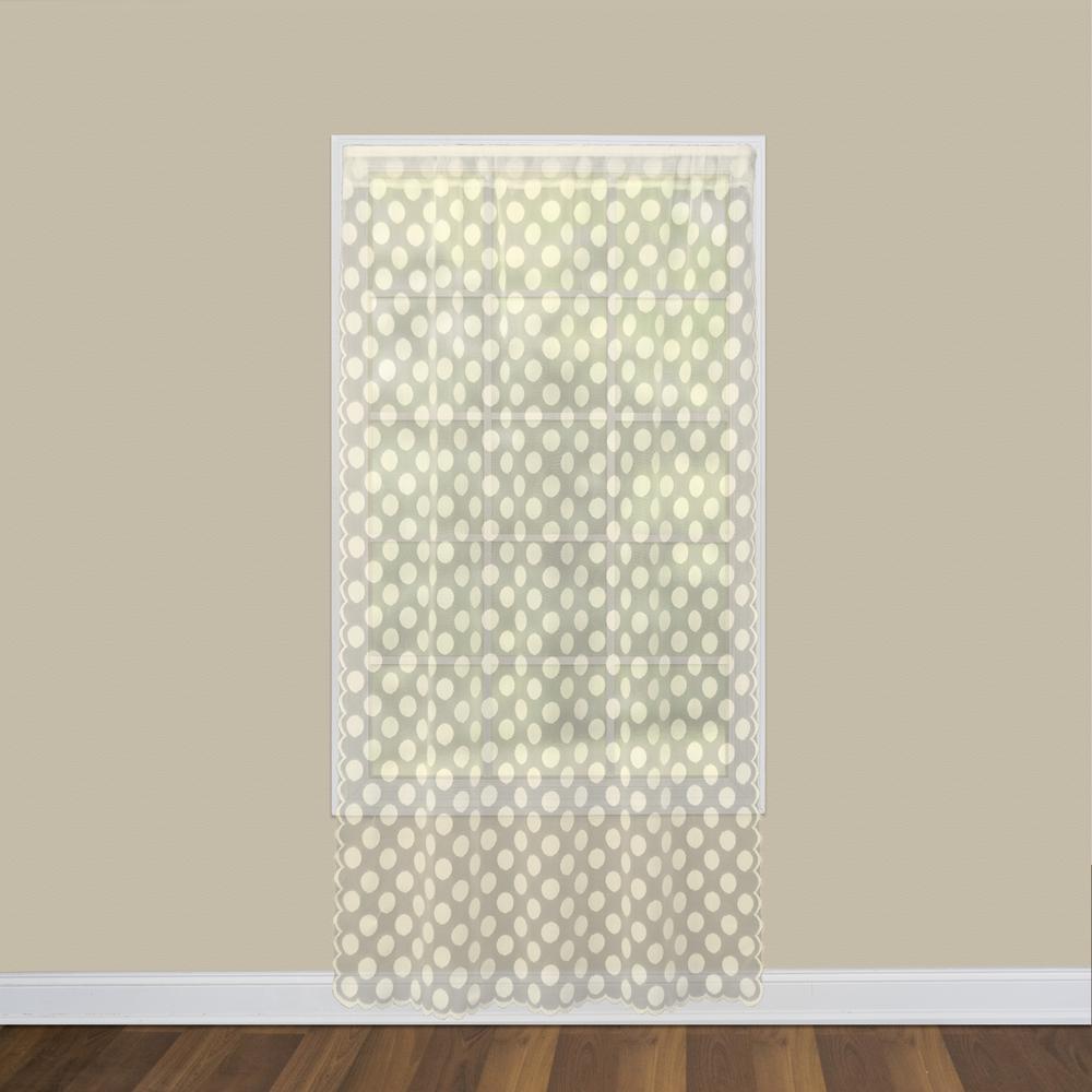 Polka Dot 58 in. W x 95 in. L Lace Window Panel in Cafe