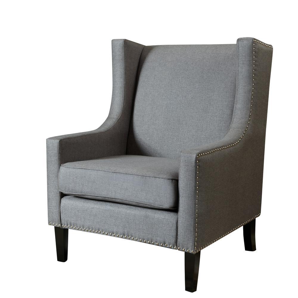 Dark Gray Polyester Accent Chair