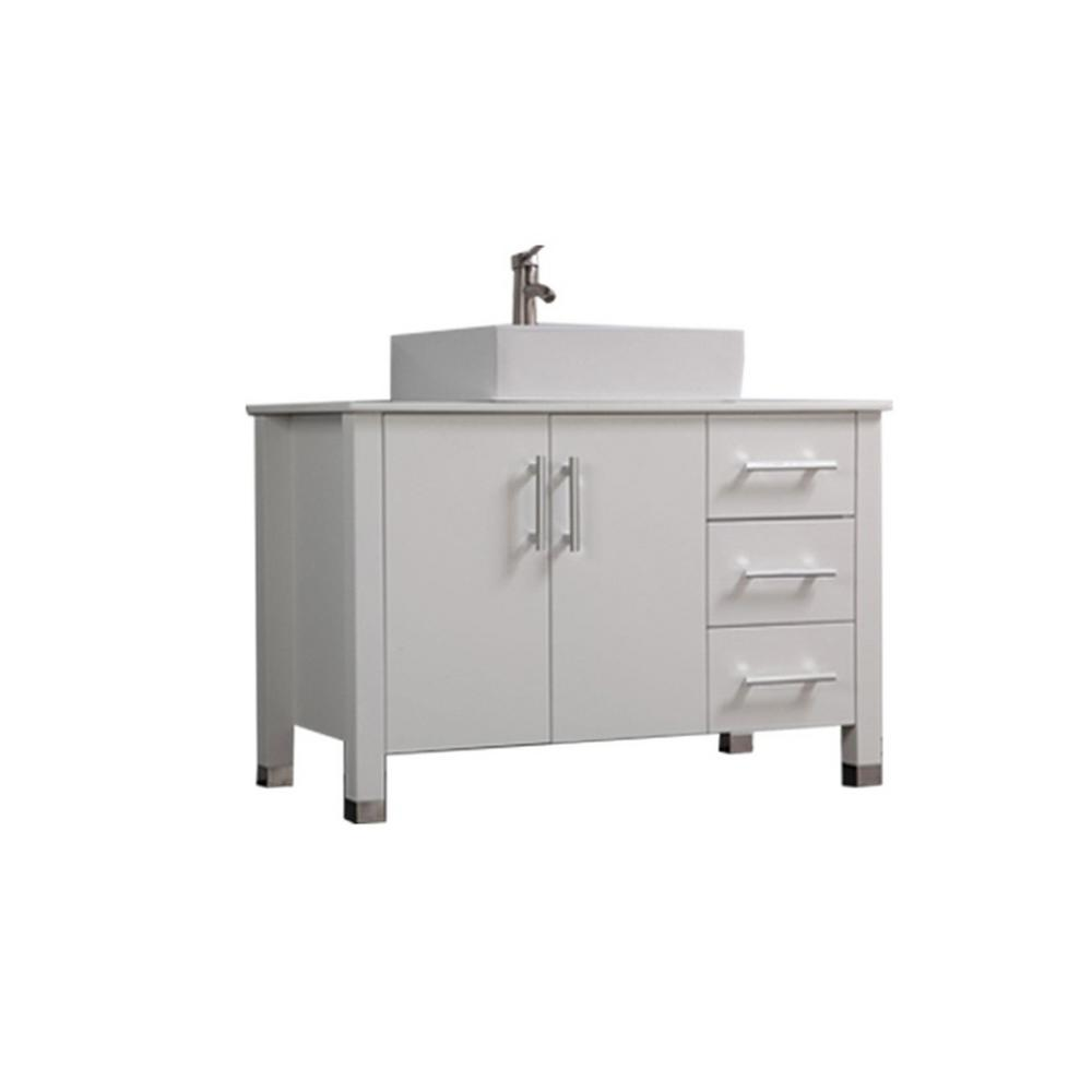 MTD Vanities Asti 40 in. W x 20 in. D x 36 in. H Vanity in White with Microstone Vanity Top in White with White Basin