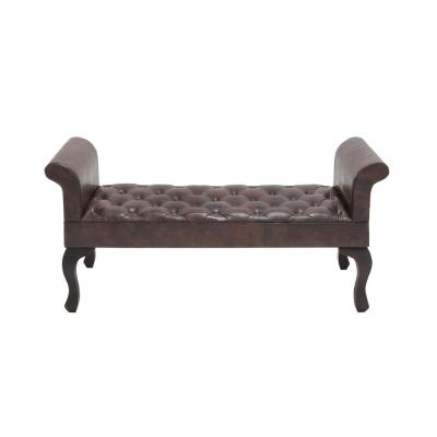 Tufted Brown Faux Leather Upholstered Bench Seat with Rolled Arms Silhouette
