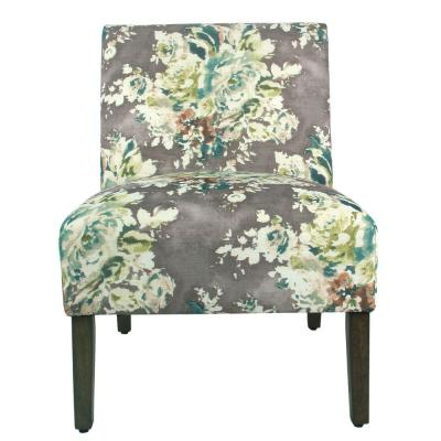 Multicolor Fabric Upholstered Wooden Armless Accent Chair with Bold Floral Pattern