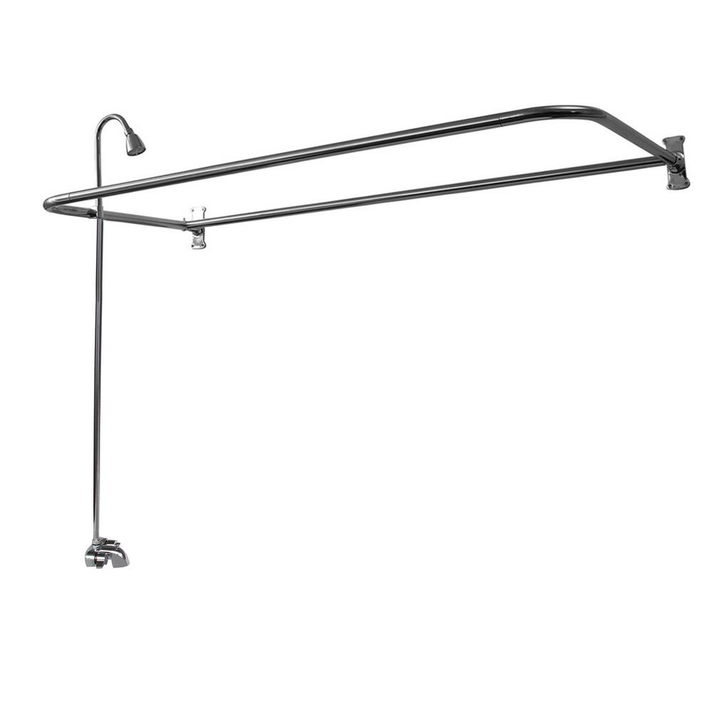 Barclay Products Plastic Lever 2-Handle Claw Foot Tub Faucet with Riser Showerhead and 48 in. D-Shower Unit in Chrome