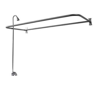 Plastic Lever 2-Handle Claw Foot Tub Faucet with Riser Showerhead and 48 in. D-Shower Unit in Chrome