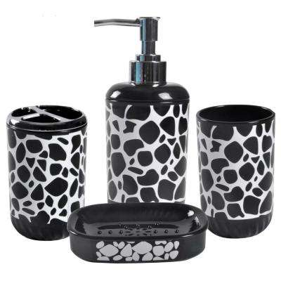 4-Piece Bathroom Hardware Set - Includes Soap Dispenser, Toothbrush Holder, Tumbler and Soap Dish