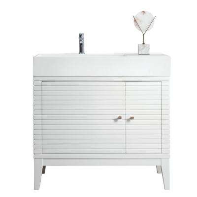 Linear 36 in. W Bathroom Vanity in Glossy White with Solid Surface Single Vanity Top in Matte White with With Basin