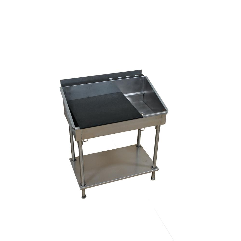 38 in x 21 in x 42 in Stainless Steel Utility Sink with Removable
