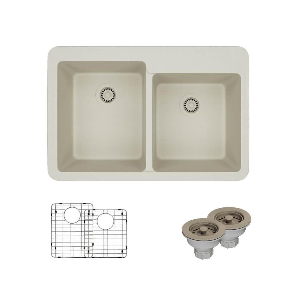 Drop-In Quartz 33 in. Offset Double Bowl Kitchen Sink in Concrete