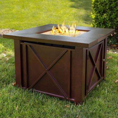 36 in. x 28 in. Square Aluminum Propane Fire Pit with Glass Weather Cover