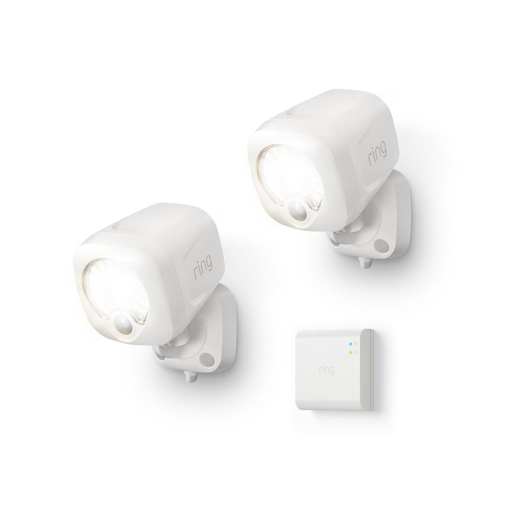 White Smart Lighting Motion Activated Outdoor Integrated LED Spot Light Battery 2-Pack with Smart Lighting Bridge White