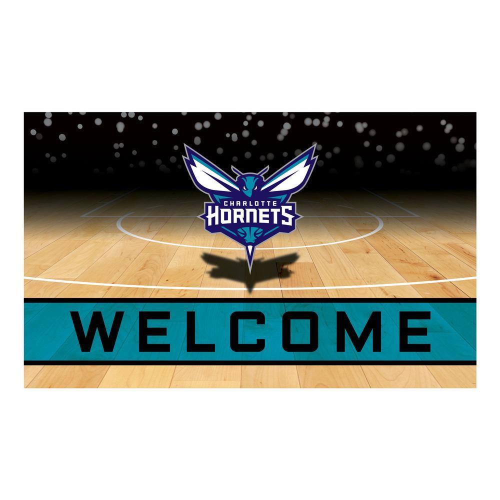 8447f1817 FANMATS NBA - Charlotte Hornets 18 in. x 30 in. Rubber Door Mat ...