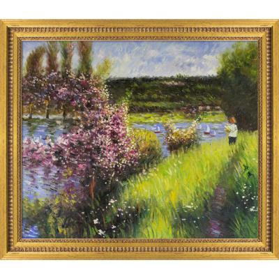 """29 in. x 25""""The Seine at Chatou with Versailles Gold Queen"""" by Pierre-Auguste Renoir Framed Oil Painting"""
