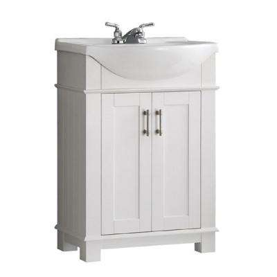 Hudson 24 in. W Traditional Bathroom Vanity in White with Ceramic Vanity Top in White with White Basin