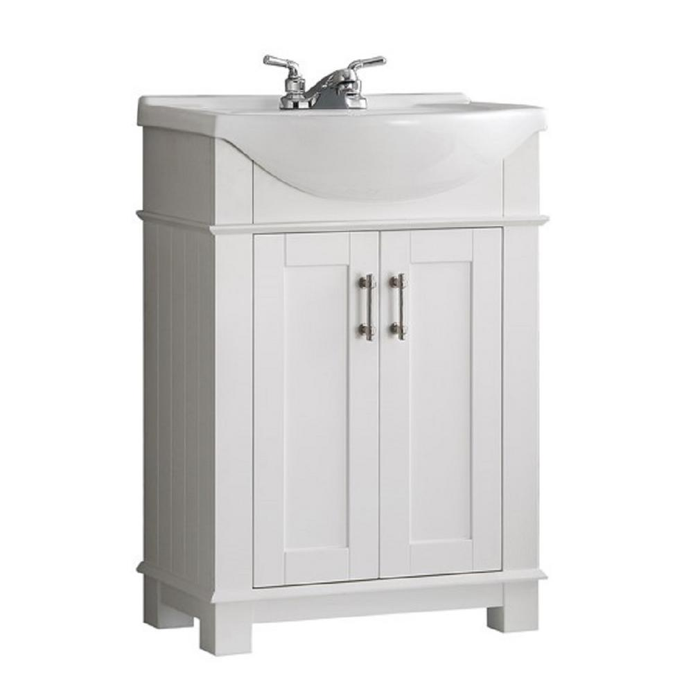 W Traditional Bathroom Vanity In White With Ceramic Top