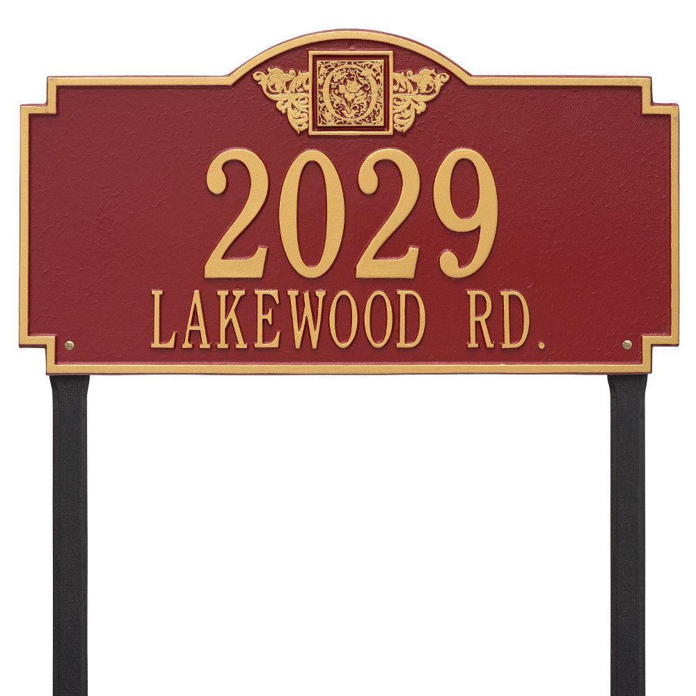 Monogram Estate Lawn Rectangular Red/Gold 2-Line Address Plaque