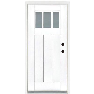 36 in. x 80 in. Smooth White Left-Hand Inswing 3-Lite Frosted Craftsman Finished Fiberglass Prehung Front Door
