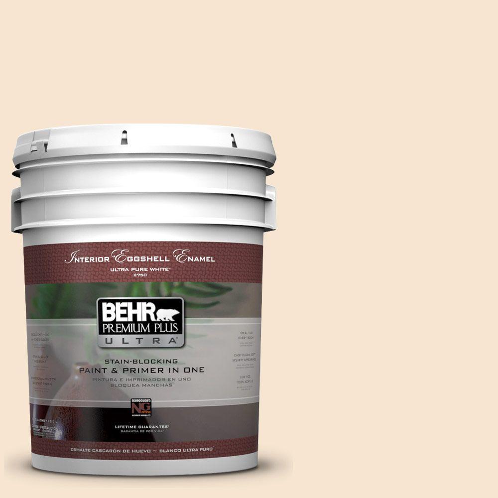 BEHR Premium Plus Ultra 5-gal. #OR-W3 Mannequin Cream Eggshell Enamel Interior Paint