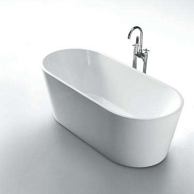 Aura 59 in. Acrylic Flatbottom Seamless One-Piece Freestanding Bath Tub in White